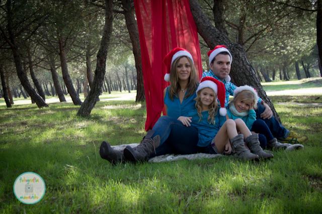 familia en una sesión de fotos de navidad