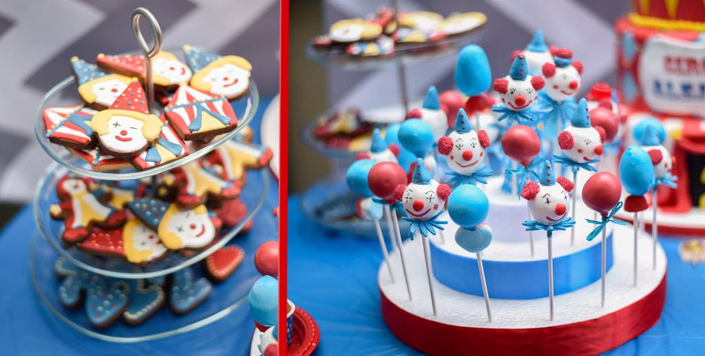 galletas y cakepop con decoración de circo