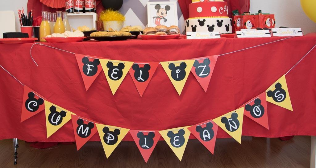 Banderines cumpleaños Mickey Mouse