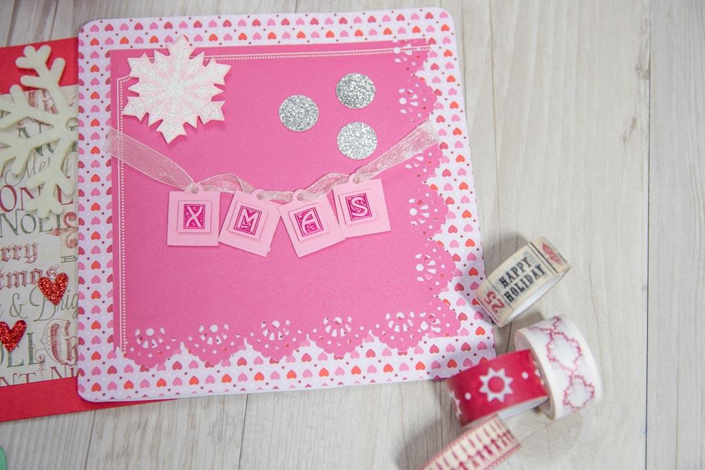 Tarjeta navidad rosa