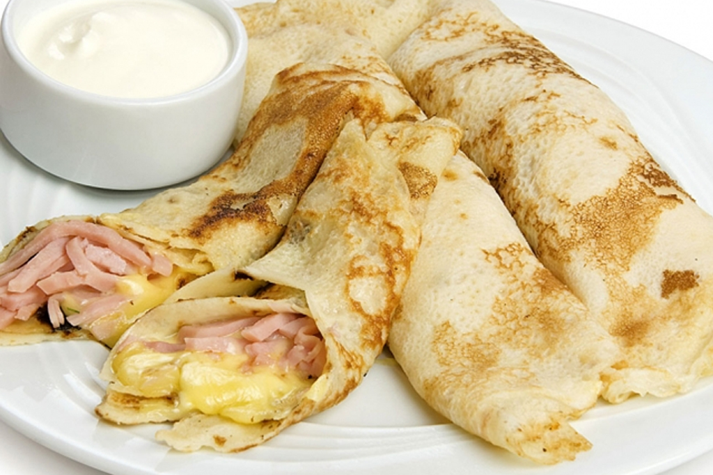 desayunos saludables creps de queso y pavo