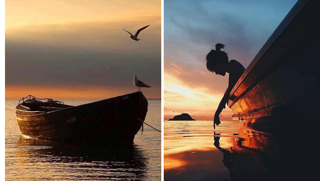 Fotos en el mar con barca al atardecer