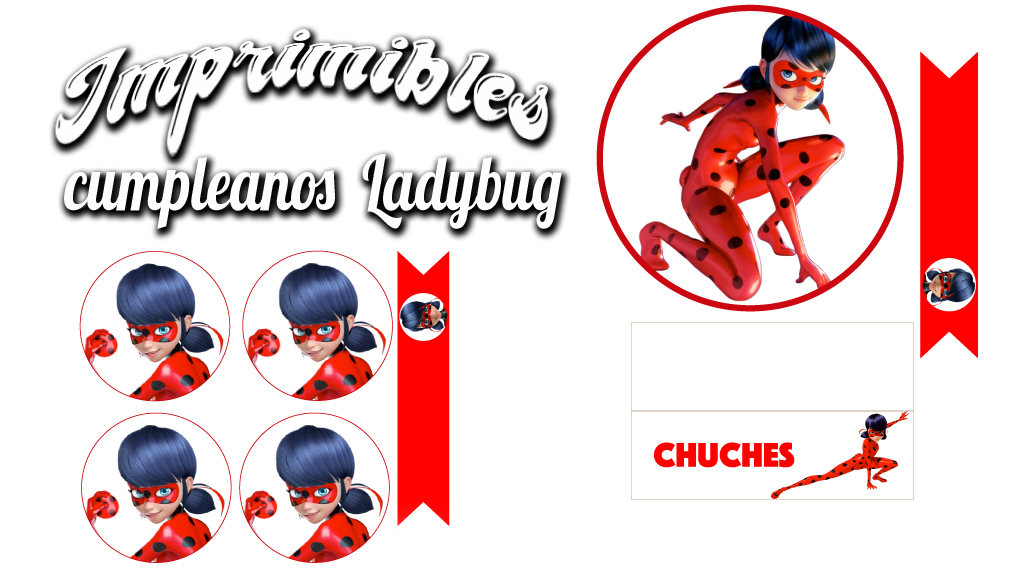 Imprimible para decorar cumpleaños de Ladybug