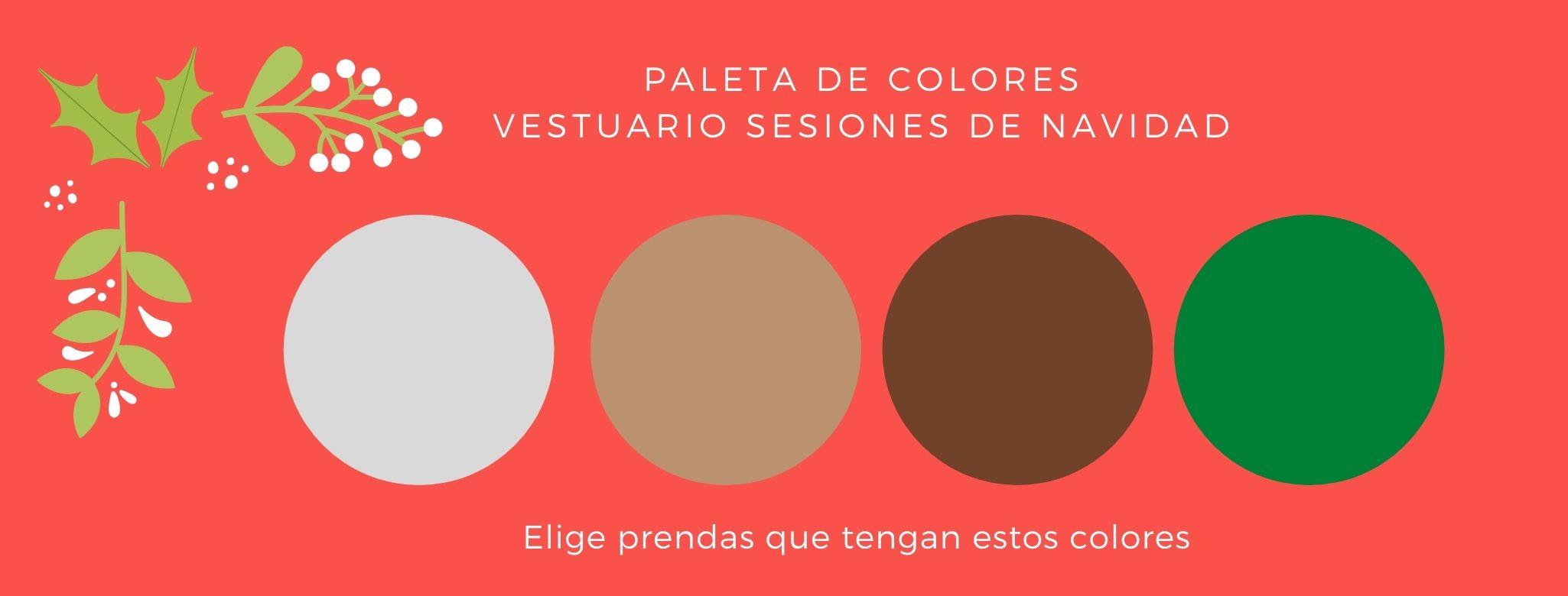 paleta de colores para la sesion de fotos de navidad